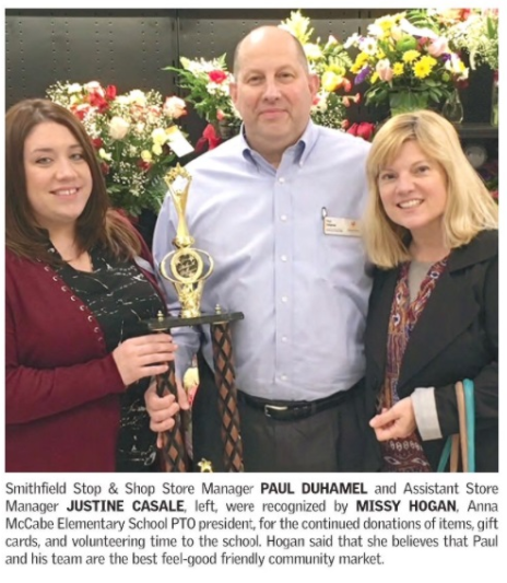 """PTO President Missy Hogan, From Local Smithfield RI School Anna McCabe Elementry, Recognizes Store Manager Paul Duhamel And Customer Service Manager Justine Casale From Store 705 With A """"You Make A Difference"""" Award For Their Team's Consistant Community Support."""