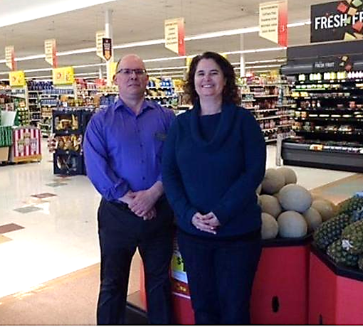From Left, Christopher Mutti, Manager Of The Stop & Shop In Beverly, Mass., And Stacey Verge, Executive Director Of Acord Food Pantry In Hamilton. The Store Donated $2,463.60 From What It Brought In Through Food For Friends.