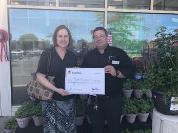 CSM Ed From Store 656 (Ridgefield CT) Presents A Check For $4,916 To Ms. Roni Angelo From St Padre Pio School For This Years A+ Program Earnings.